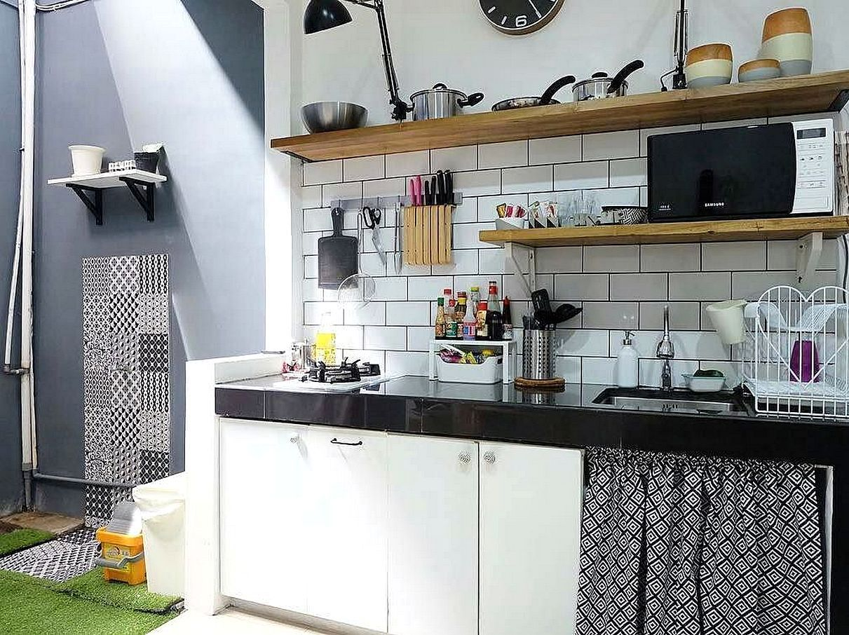 Model motif keramik dapur sederhana sempit kecil dapur for Kitchen set hitam putih