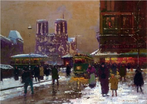 Notre Dame, St. Michael, under the snow - Edouard Cortes