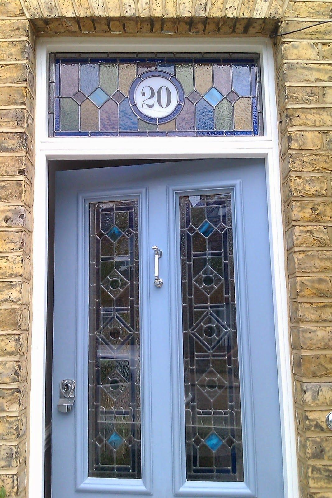 Stained Glass Door With House Number Balham 1000 In 2020 Stained Glass Door Glass Panel Door Glass Front Door