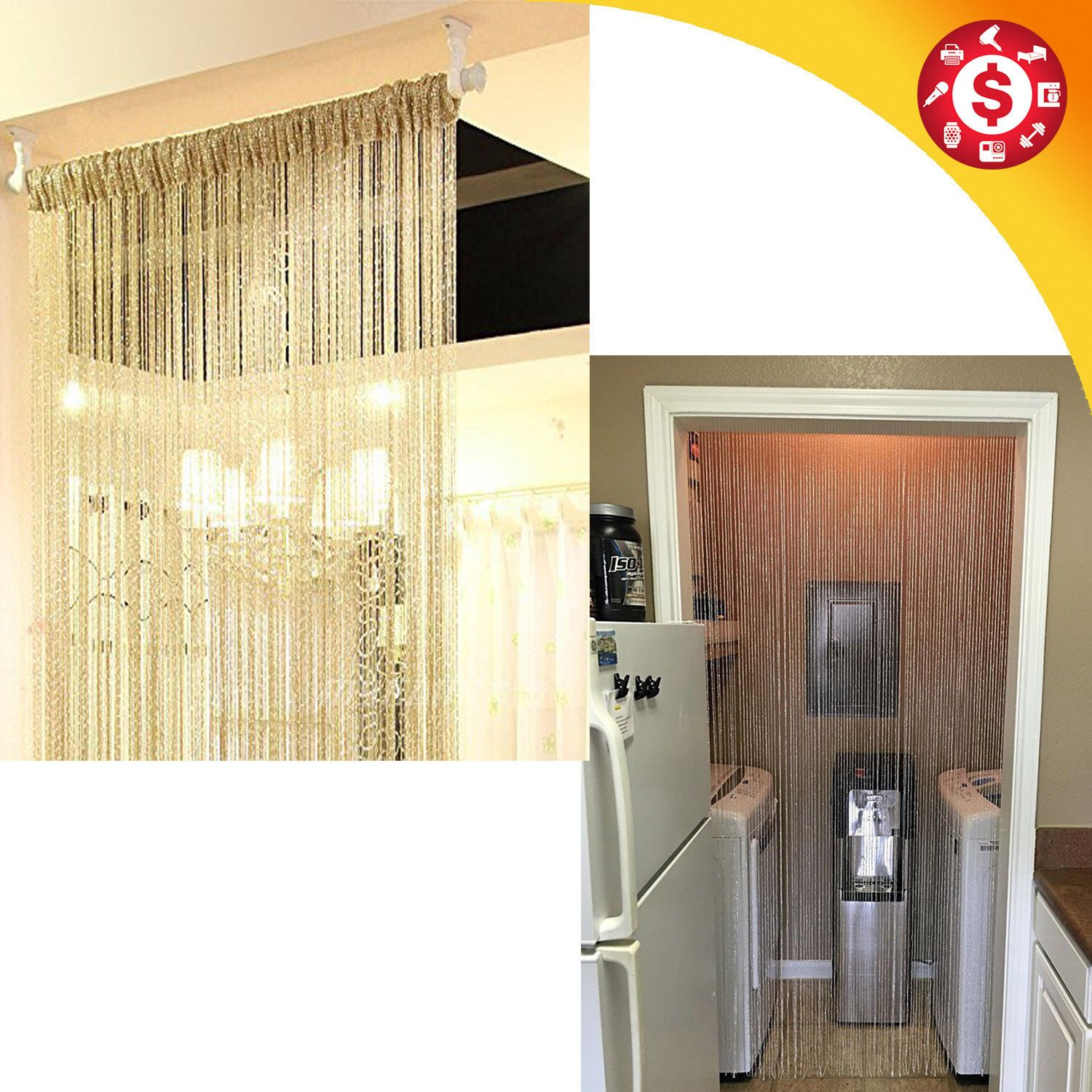 Pin On Gold Door String Beads Curtain Room Divider Window Panel