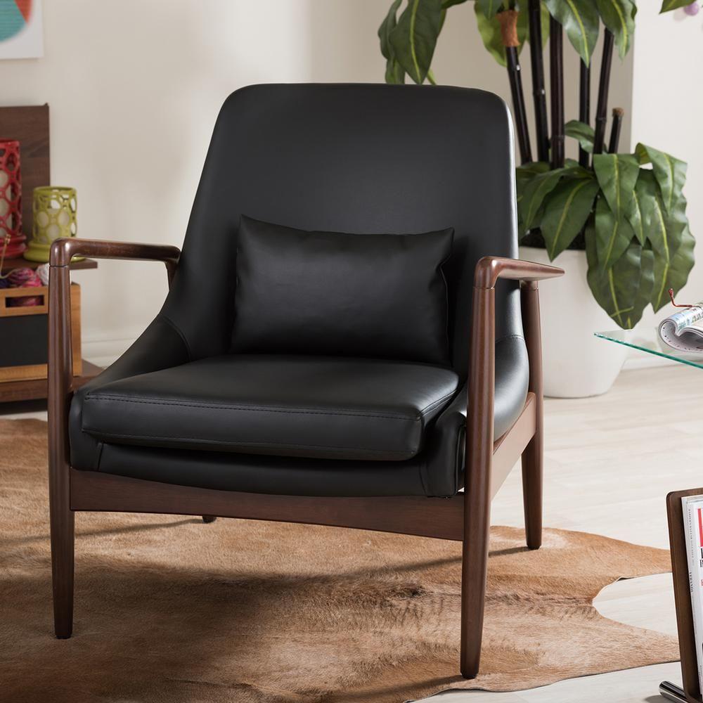 Baxton studio carter midcentury black faux leather