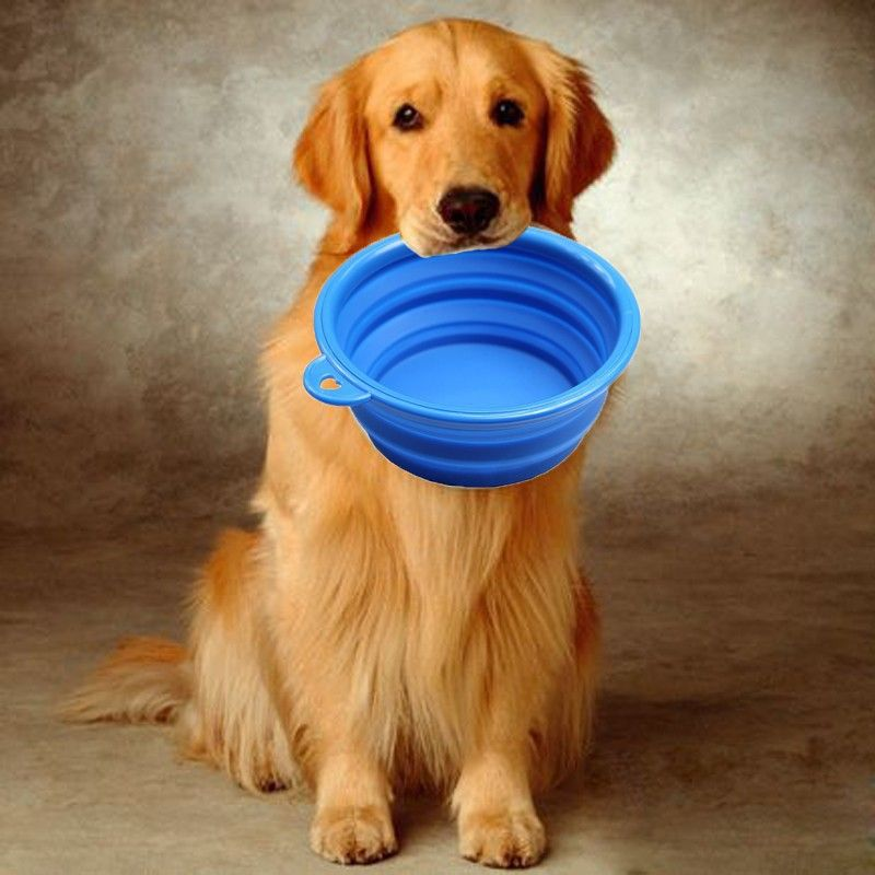 1pcs folding silicone pet bowl for both food and water