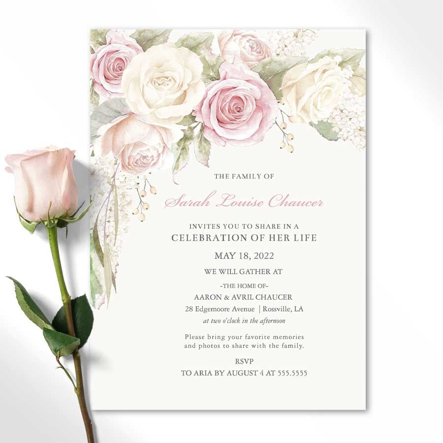 Floral Rose Memorial Service Invitations For Funerals Memorial Service Invitation Celebration Of Life Funeral Invitation