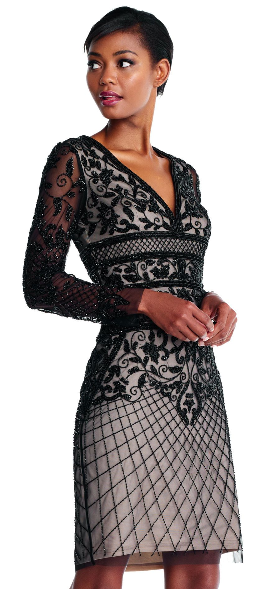 Garden floret beaded sheath dress with sheer long sleeves adrianna