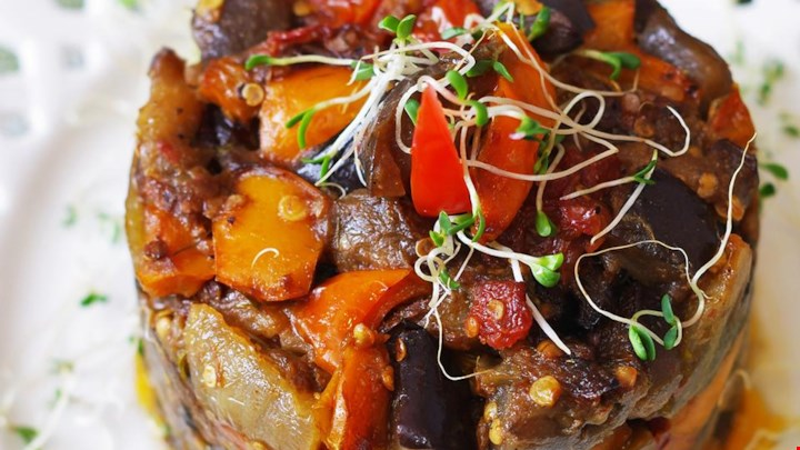 Roasted Eggplant and Bell Pepper Salad Recipe #bellpepperrecipes