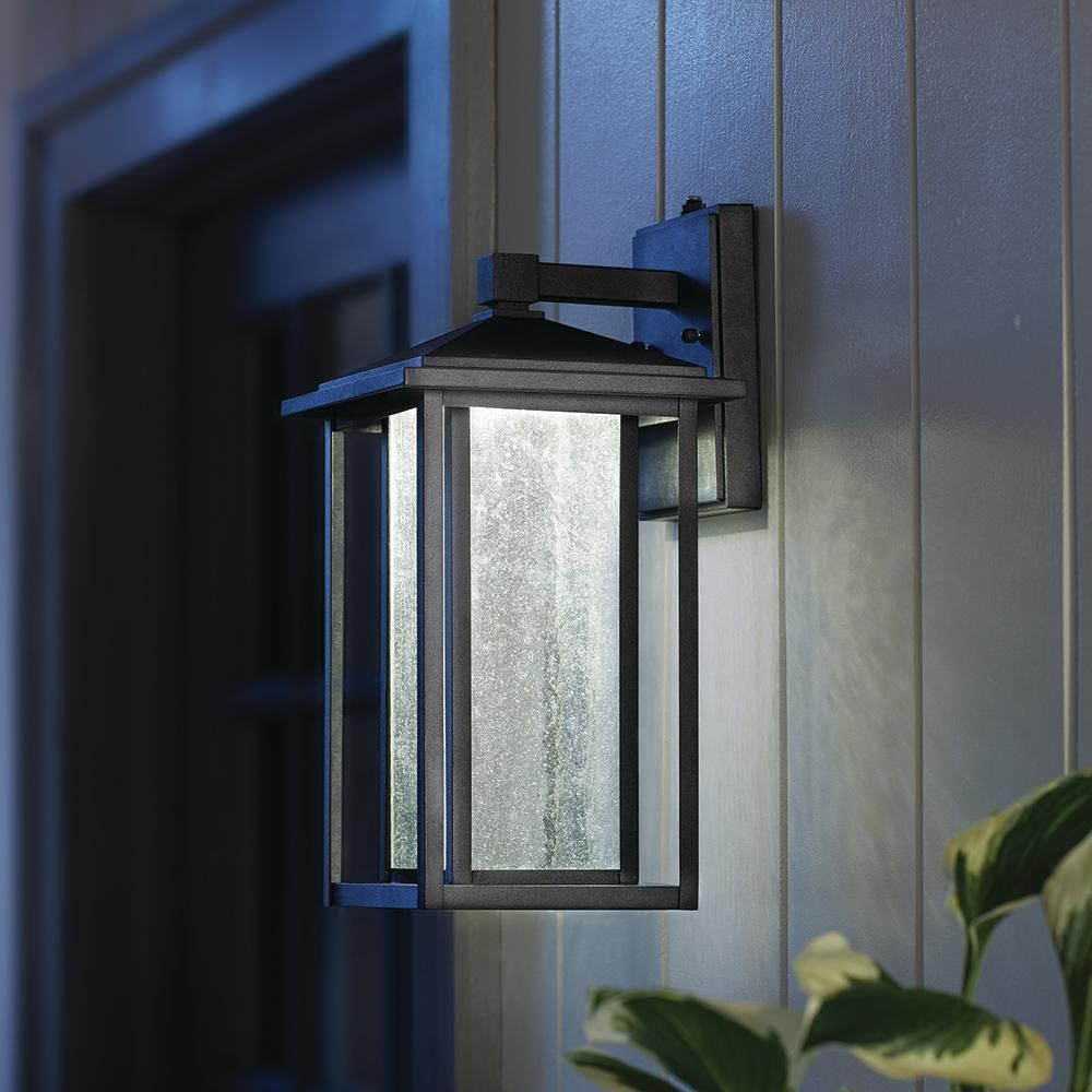 Home Decorators Collection Black Medium Outdoor Seeded Glass Dusk To Dawn Wall Lantern Wall Lantern Home Decorators Collection Outdoor Wall Lantern