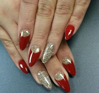 life after christmas nails acrylic coffin red glitter 41
