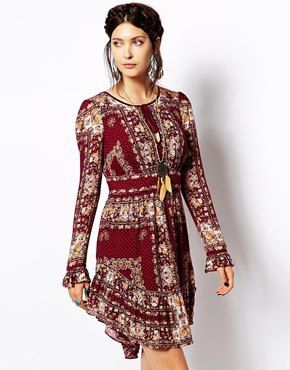 Free People Mini Dress In Floral Borders Print - red