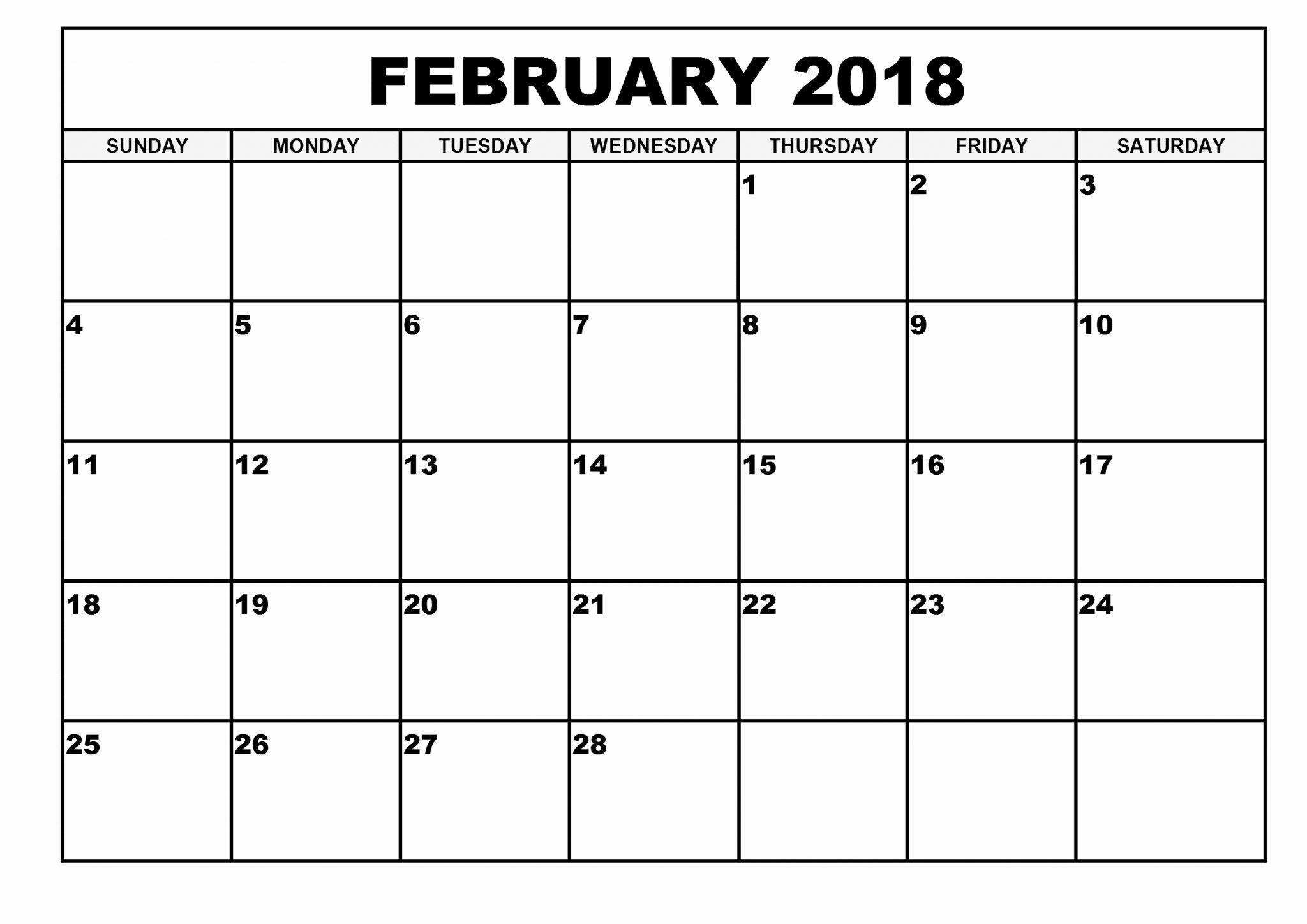 Free Feb 2020 Calendar Printable Templates with Holidays