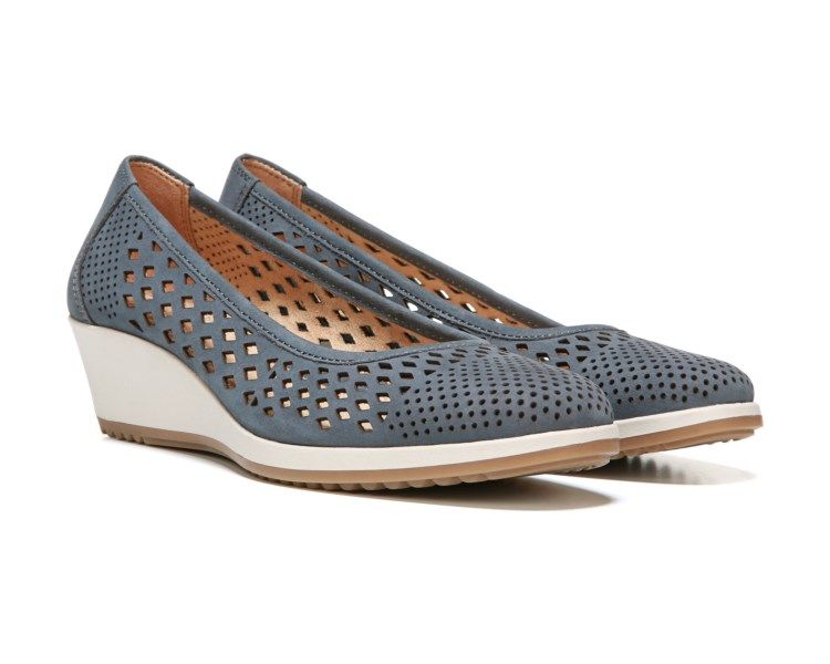 Casual style has never looked better with the Brelynn round-toe wedges from Naturalizer. Perforated leather gives these wedges extra breathability and modern flair. Wear them with your favorite jeans for the perfect finishing touch.Slip-on entryN5 Comfort technology, featuring a flexible sole, lightweight materials, extra cushioning, heel-to-toe balance, and a breathable liningNon-slip outsole for stability, 1 3/4 inch wedge heel