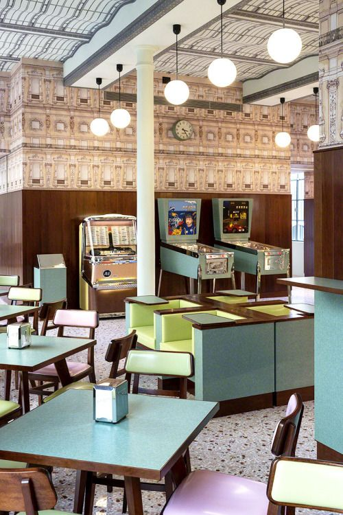 The Pinball Machines!  MoodBoardMix XI - Bar Luce Designed by Wes Anderson. Fondazione...