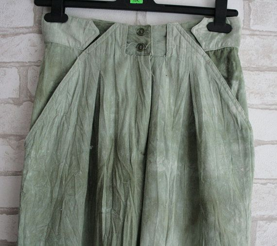 Banana Trousers High Waist vintage 90s green gray Pants vintage clothing grunge trousers navy retro stylish trousers is part of Vintage Clothes Grunge - xBackInTheUSSRx ref hdr shop menu Thank you for coming to our shop! Here you'll find vintage jewelry, home décor, different collectibles, soviet post card, etc  mostly originated from USSR  They would be a great gift for many occasions that people would enjoy for many years  All products are in good condition and ready to become yours  We will answer all of your questions to help you make a decision  Usually we ship items in one or two business days  Buying several items will make the shipping cheaper  Worldwide shipping takes about 24 weeks depending on your location   See what we have and find what you need  Thank you!