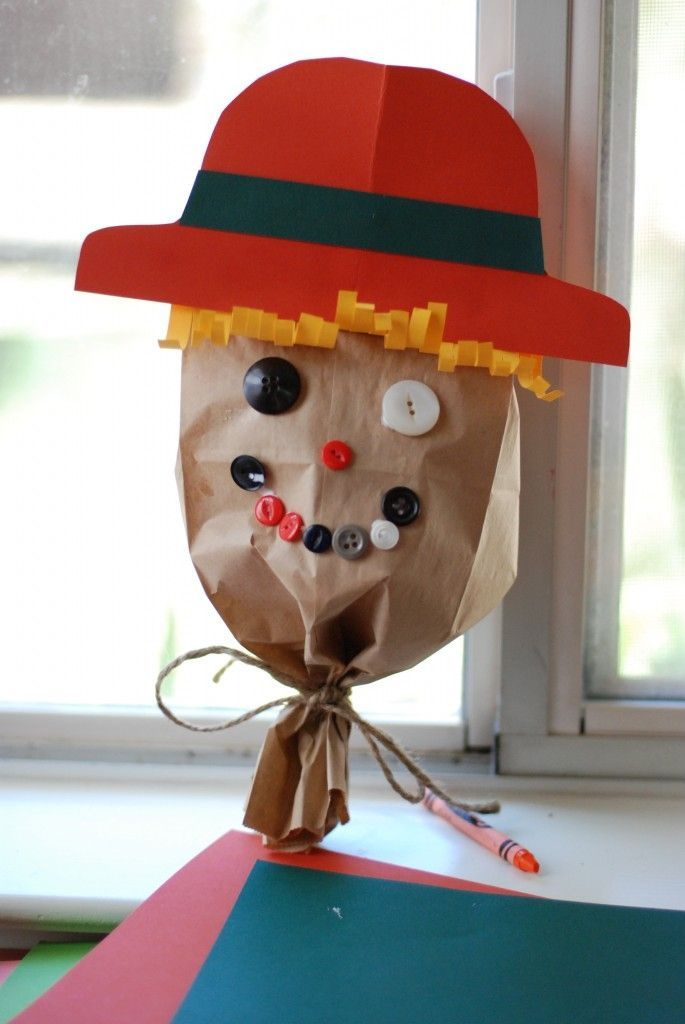 Scarecrow Craft With Brown Paper Bag Work On Attributes Shapes Colors Following Directions Giving Answering And Asking Questions