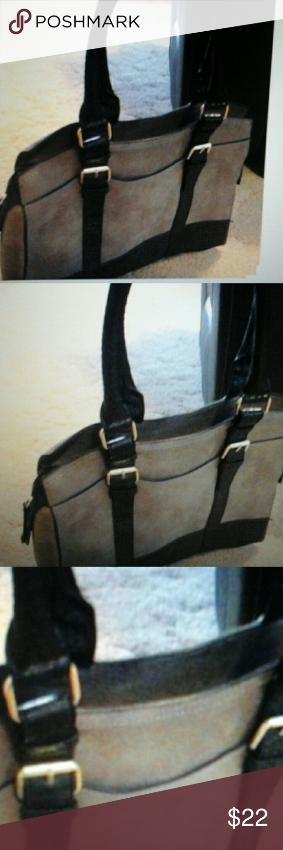 Bueno Leather Purse  Buckle Straps In great condition.  LIGHT BROWN  AND BLACK LEATHER Bags Shoulder Bags