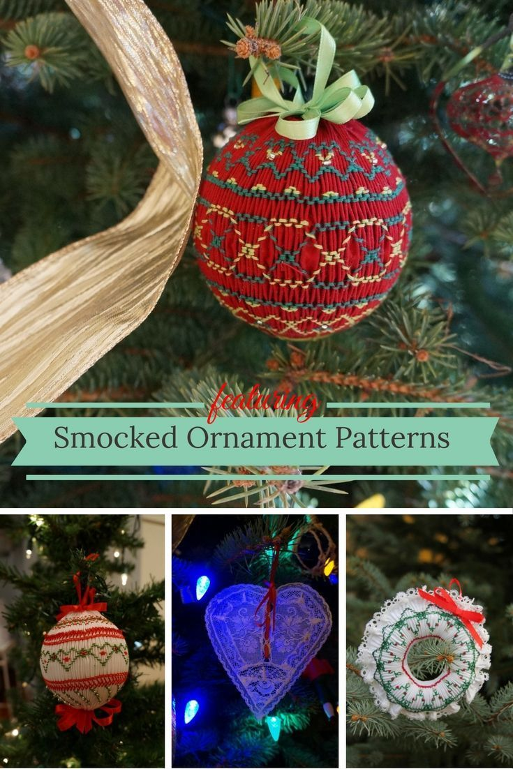 Smocked Ornament patterns - some are free, all the details at Pink Hollybush  #smocking #christmasornaments
