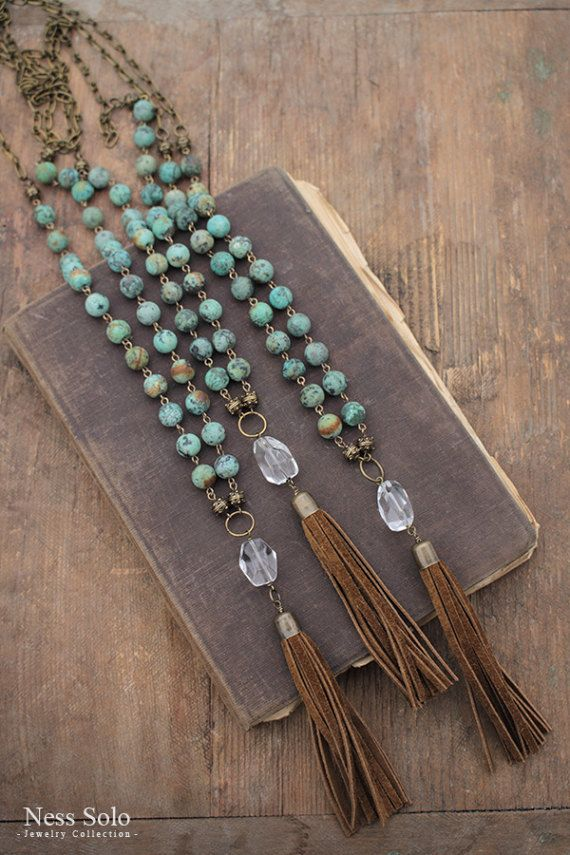 Turquoise necklace Long turquoise tassel necklace African turquoise bead necklace Leather tassel necklace Long beaded boho necklace