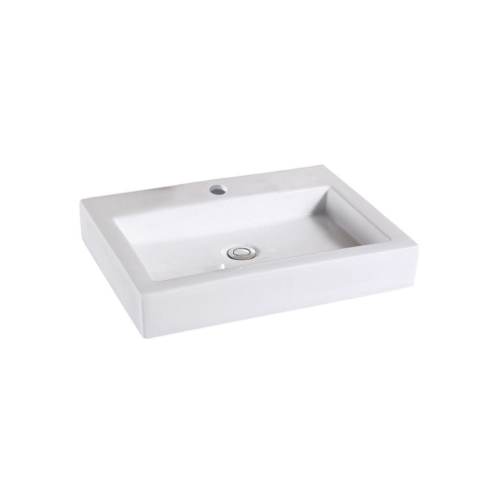 Luxier Rectangular Bathroom Ceramic Vessel Sink Art Basin In White