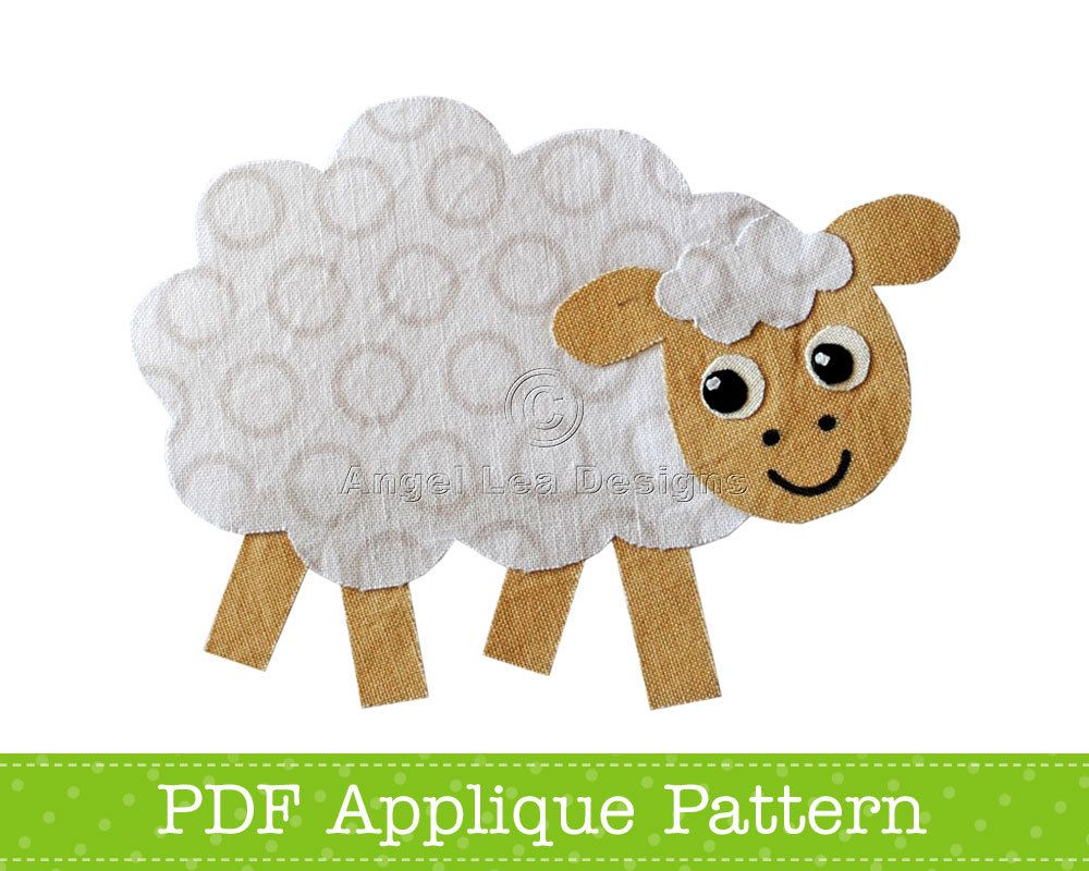Sheep Applique Template, Farm Animal Applique Design, PDF Applique ...
