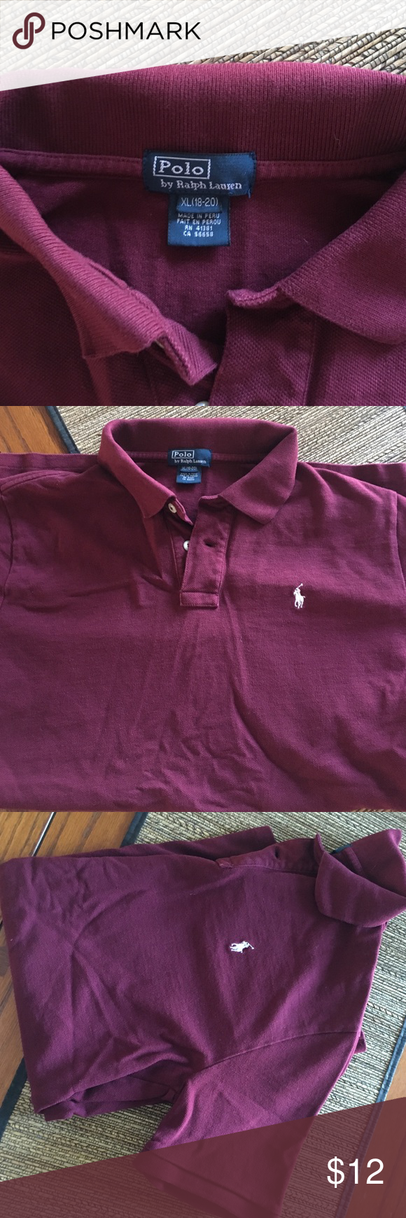 Polo shirt boys XL Polo (Ralph Lauren) shirt boys size XL. Maroon color.  No fading, stains or holes.  Great condition! Polo by Ralph Lauren Shirts & Tops Polos