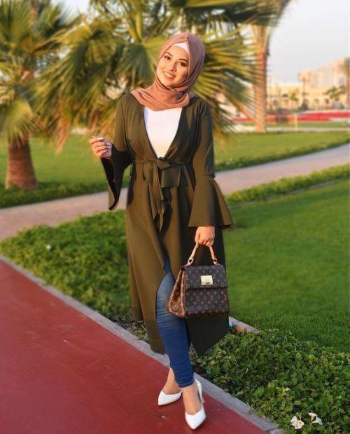f5e567ca9987 olive green waterfall cardigan-Hijab lookbook ideas – Just Trendy Girls