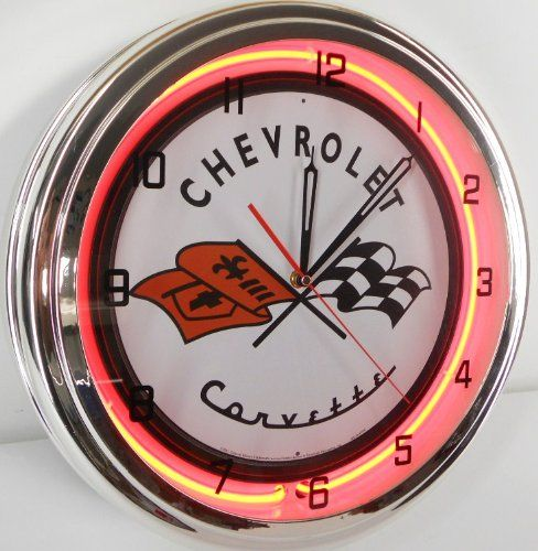 Chevy Corvette Flags 15 Neon Lighted Wall Clock Sign Orange In 2020 Wall Clock Light Wall Clock Diy Clock Wall