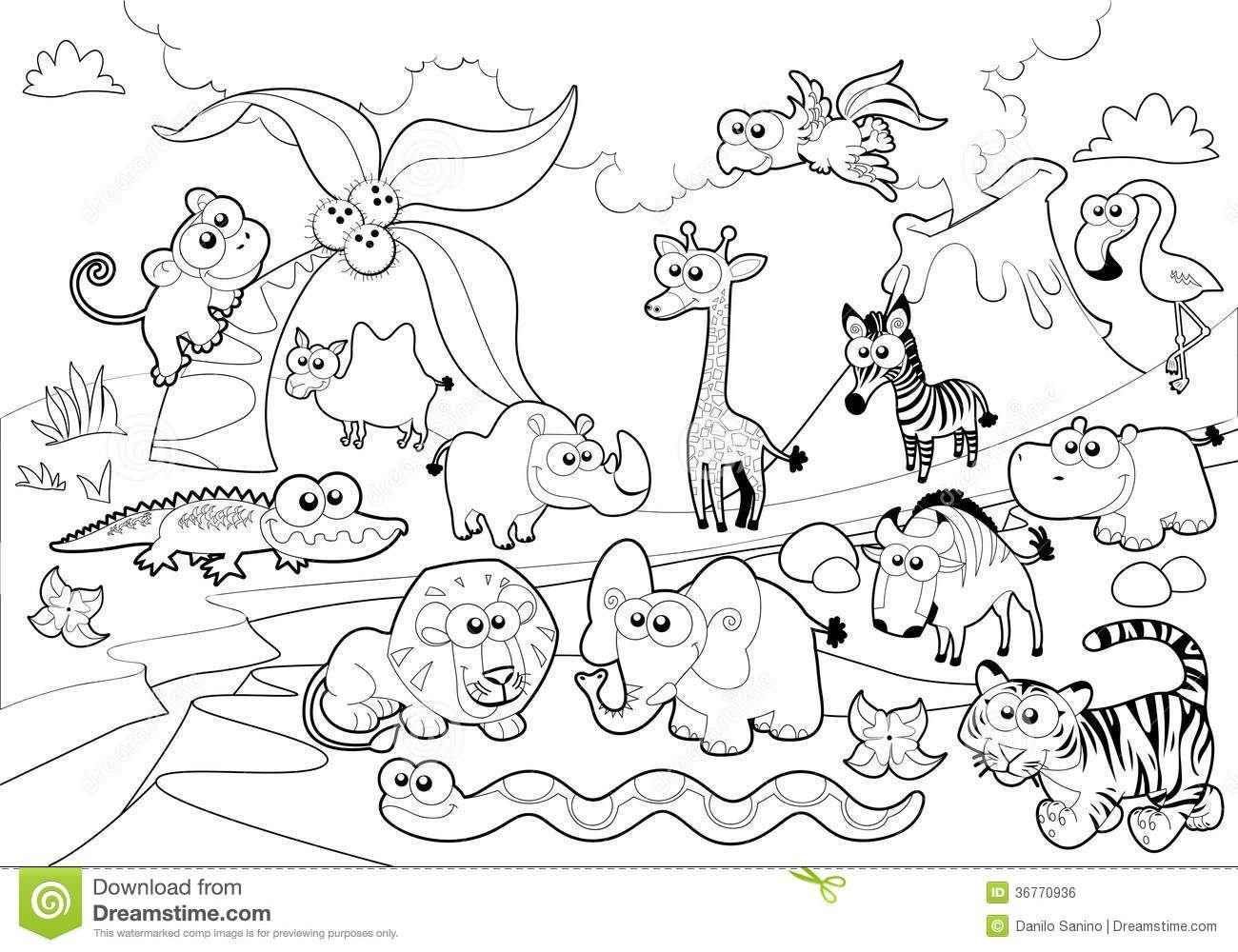 Black And White Jungle Cartoon Pagine Da Colorare Disney Bianco E Nero Animali