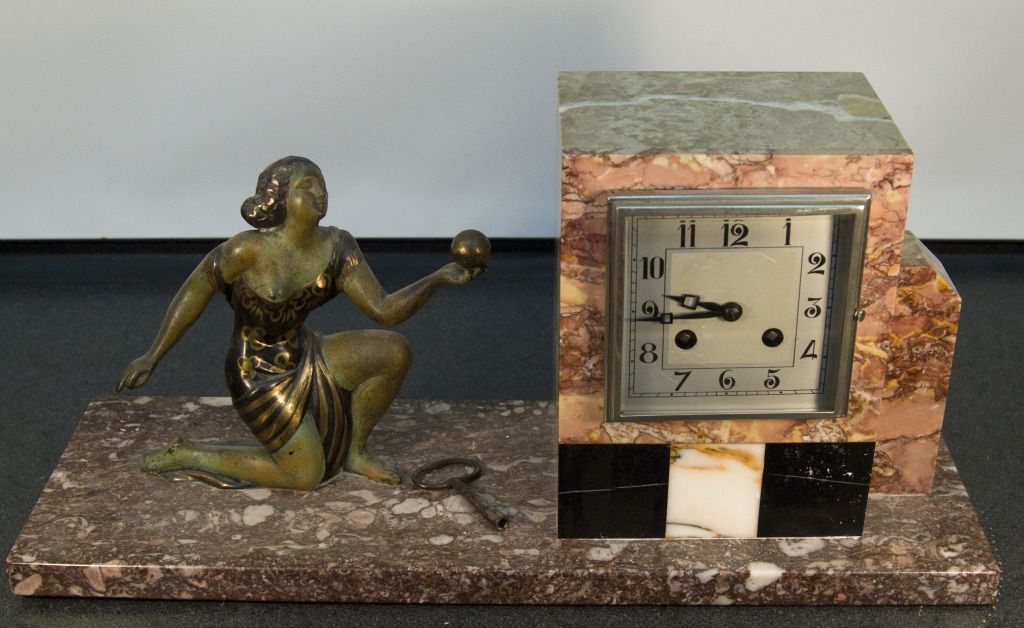 Fritz Marti Movement French Marble Art Deco Figural 8 Day Clock , 1920-25 | Collectors Weekly