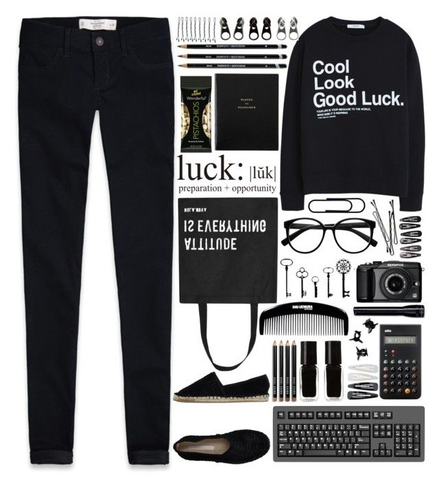 """""""We're up all night to get lucky"""" by annaclaraalvez ❤ liked on Polyvore featuring Abercrombie & Fitch, MANGO, Stylesnob, Retrò, Smythson, Olympus, Full Tilt, Clips, Braun and BOBBY"""