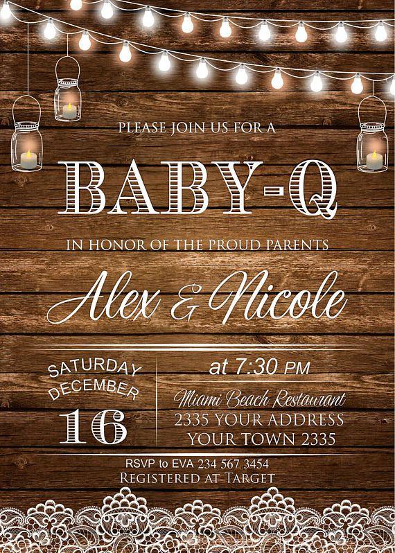 Baby Shower Invitations. Baby Q Shower. Rustic Baby Shower.