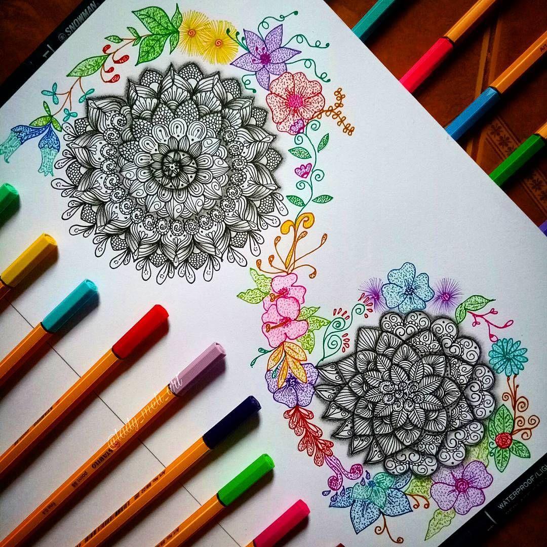 4 494 Likes 111 Comments Mandalas Zentangles Doodles Lady Meli Art On Instagram 3d Colorful Leaf Drawing How Marker Art Zentangle Leaf Drawing