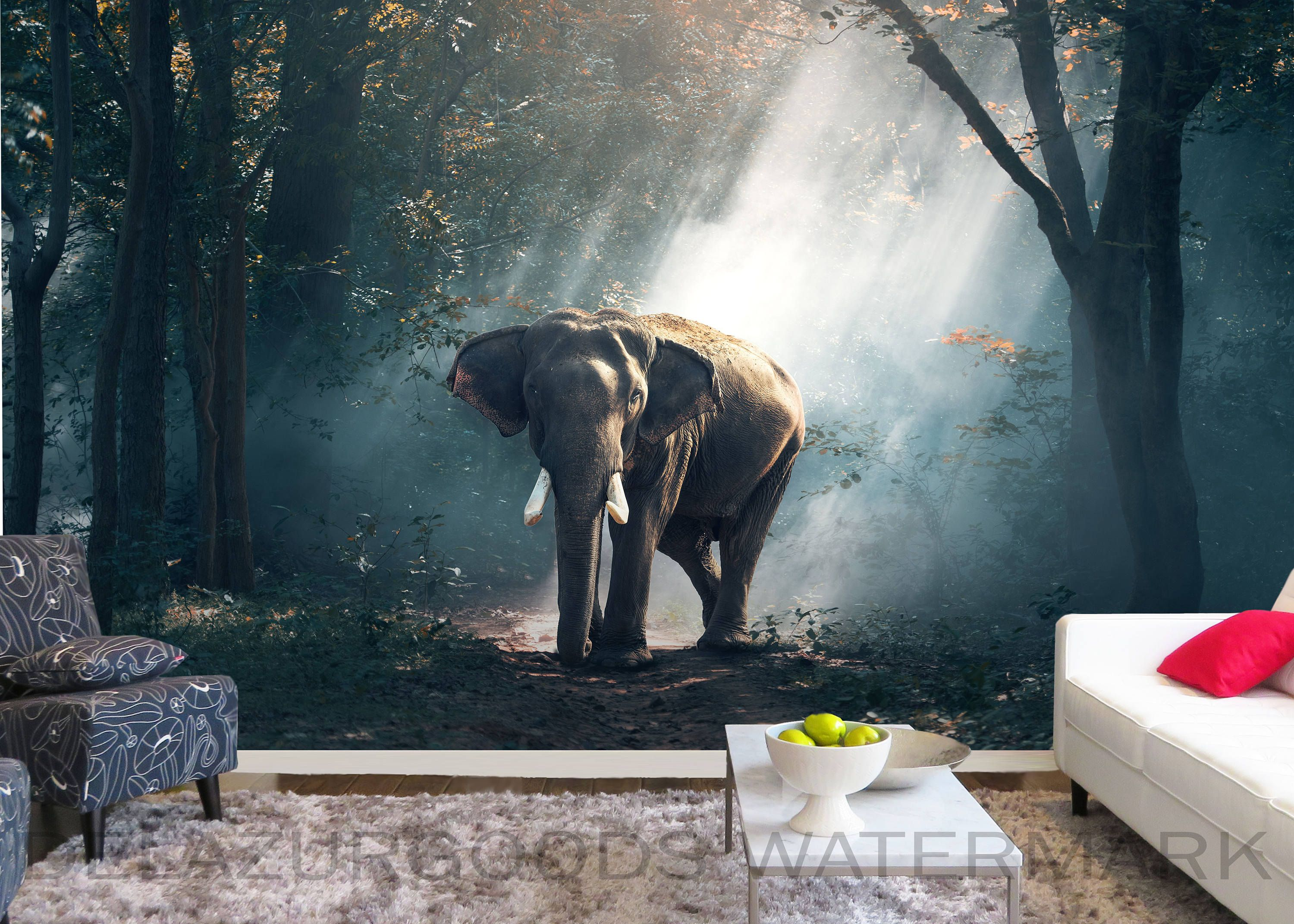 Elephant Wallpaper Peel And Stick Removable Wall Mural Etsy Elephant Wallpaper Removable Wall Murals Wallpaper