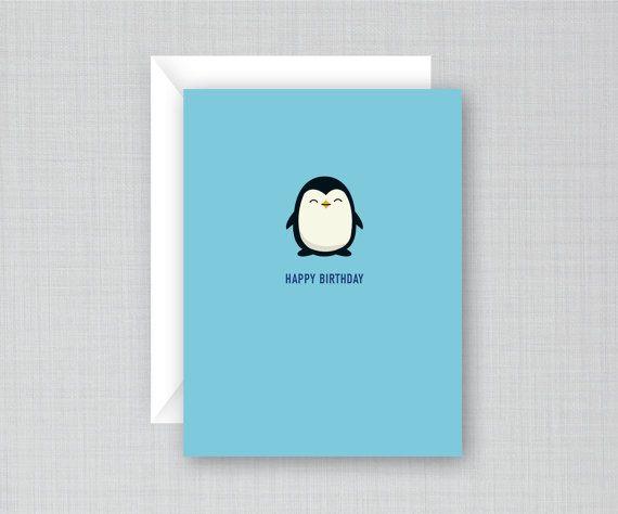 Penguin Birthday Card Birthday Card Funny Card Cute Card