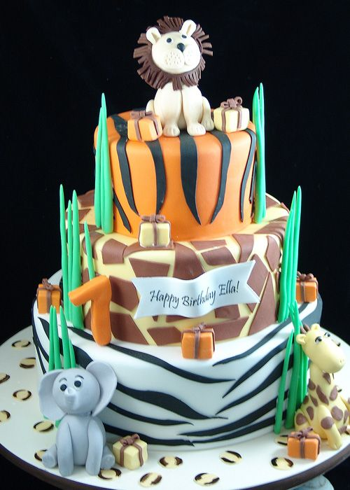 Jungle Animal Print First Birthday Cake Our Childrens Cakes