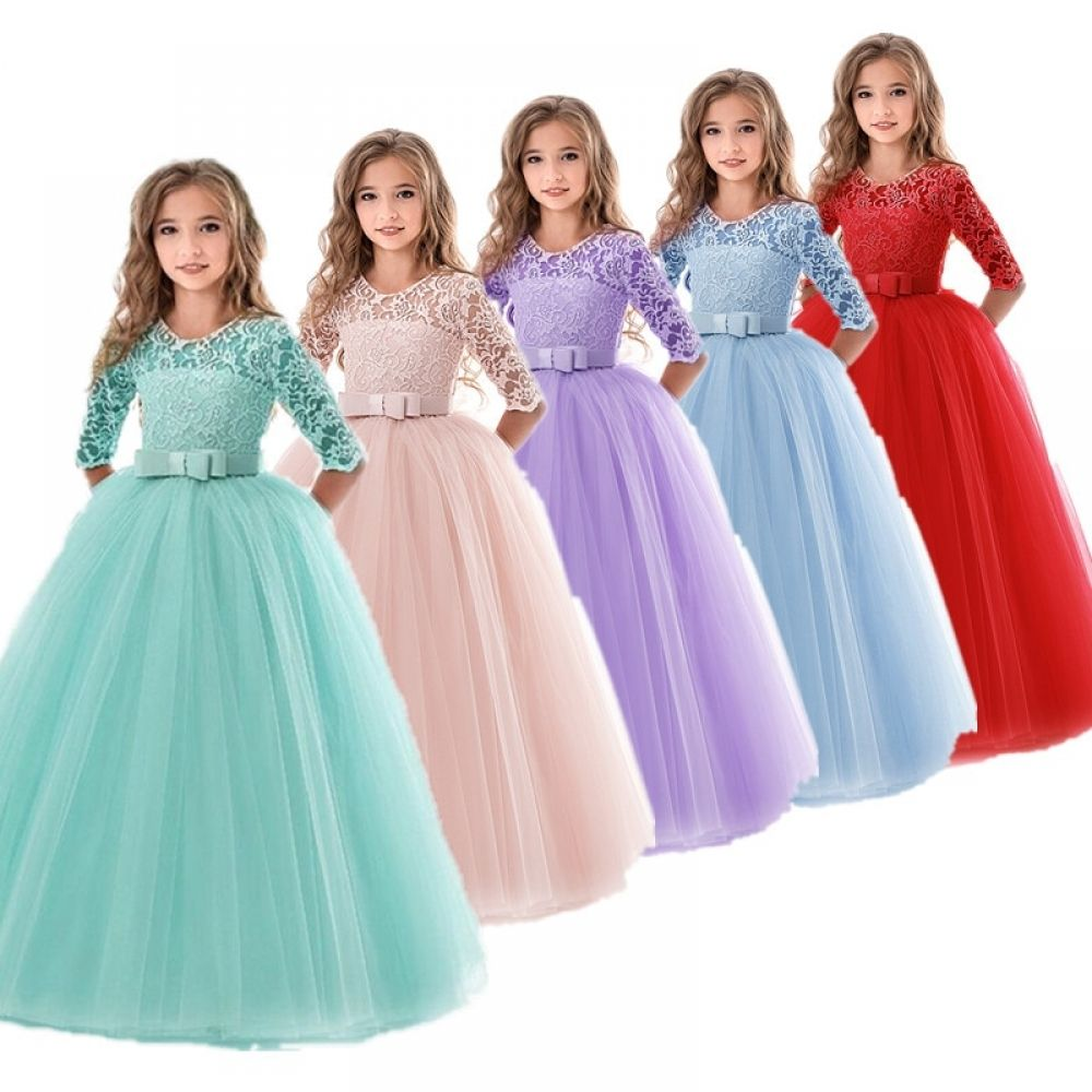 Kids Girls Party Dress Lace Princess Beaded Bridesmaid Wedding Layered Dresses