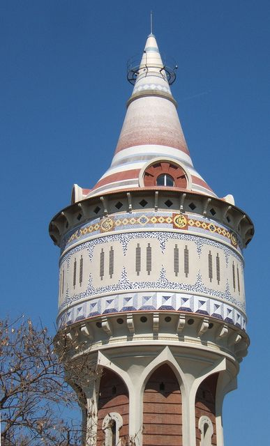 La Torre de les Aigües (Water Tower) includes a free ghost story :)  An early work by Josep Domènech i Estapà (1858-1917), it was commissioned when the company Sociedad Catalana para el Alumbrado de Gas—later Catalana de Gas—expanded its facilities to include a 45-m high water tower. Catalonia | Europe