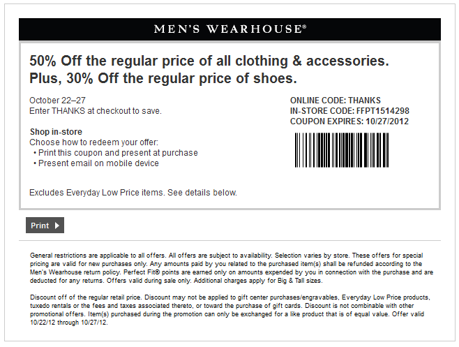 image regarding Mens Wearhouse Coupon Printable named 50% off garments and much more at Mens Wearhouse, or on line through