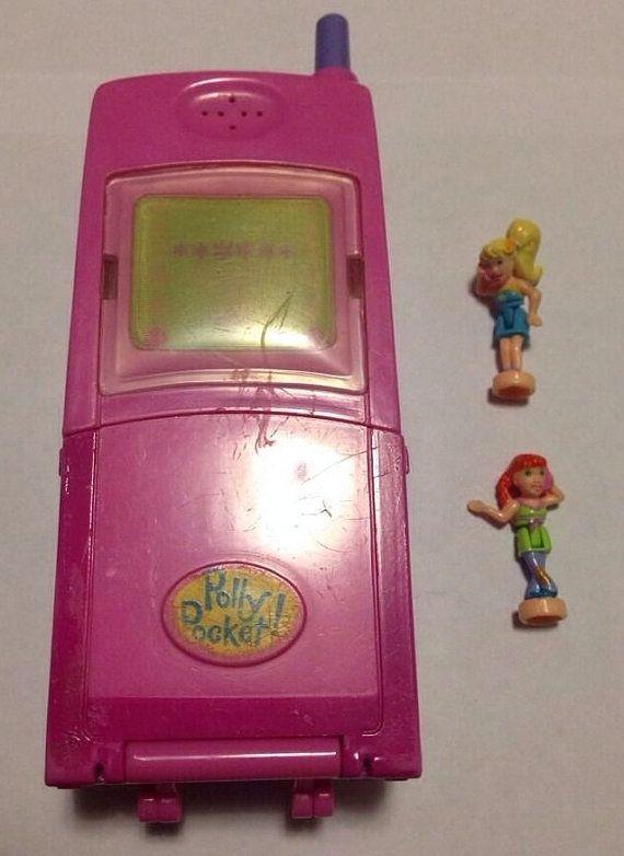 Vintage Polly Pocket Cell Phone Hot Stuff Pink COMPLETE set Figures