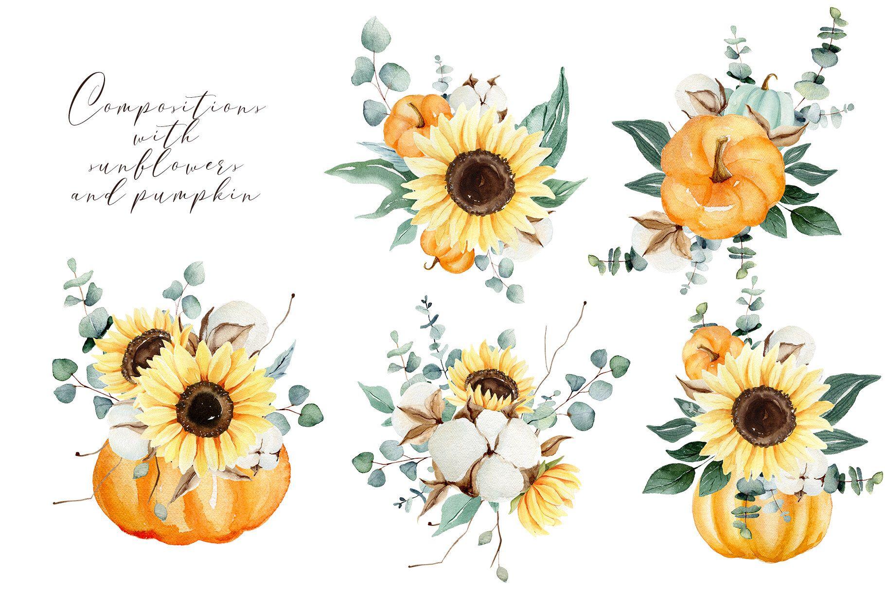 Sunflower Png Pumpkin Png Eucalyptus With Sunflower Clipart Etsy In 2021 Sunflower Clipart Watercolor Sunflower Sunflower Png