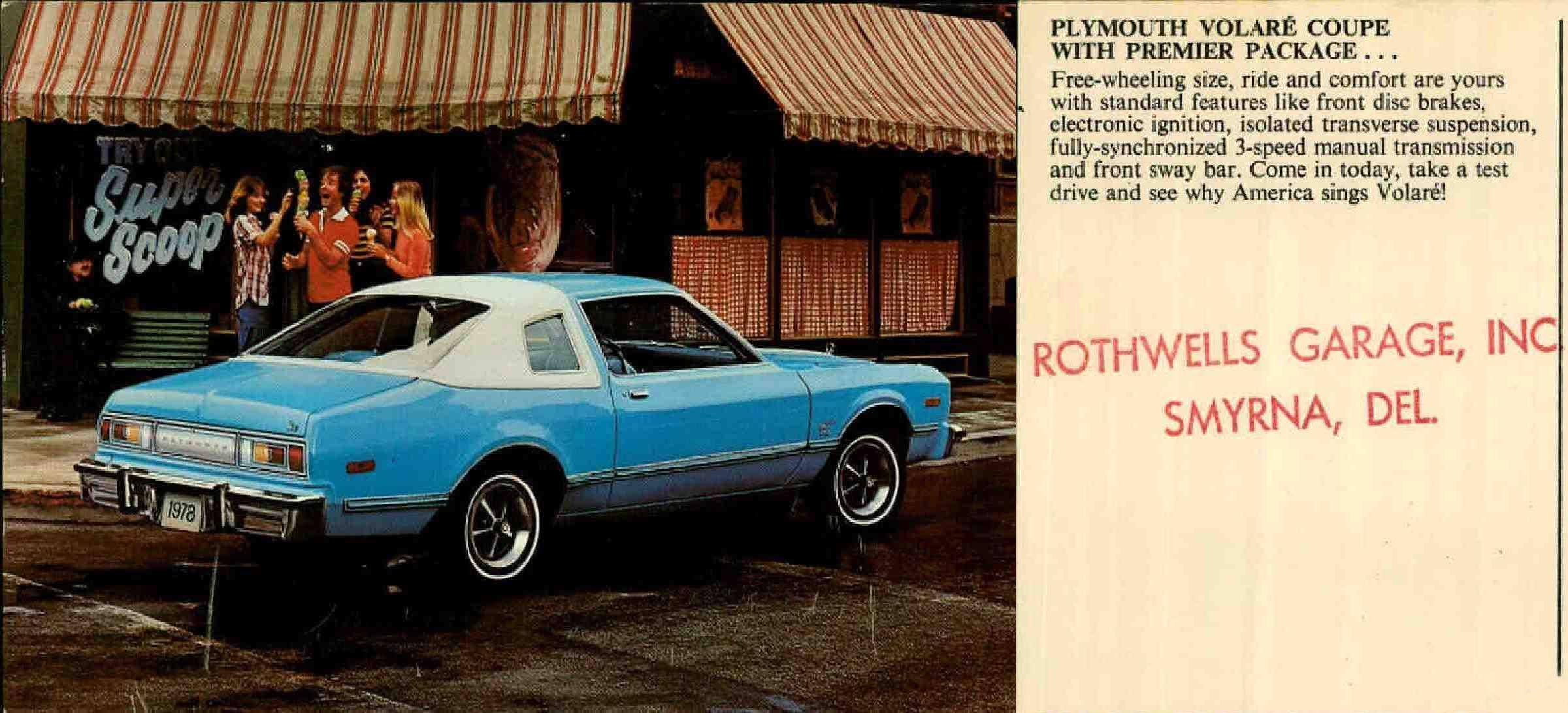 1978 Plymouth Volare Coupe sales postcard. From the Caley Postcard  collection. 9015-028-000 #851. www.archives.delaware.gov