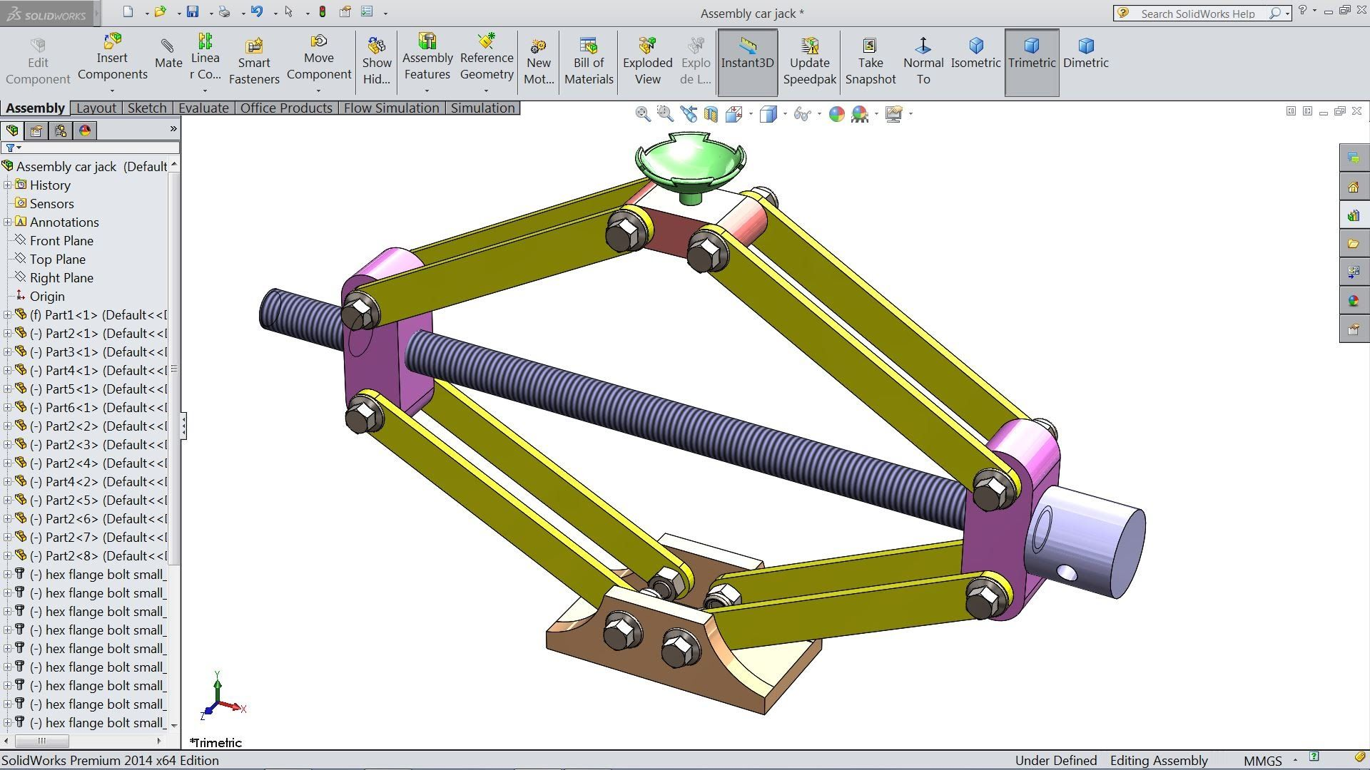 solidworks tutorial design and assembly of car jack in solidworks rh pinterest com Engineering Drawing SolidWorks SolidWorks Dimension Settings