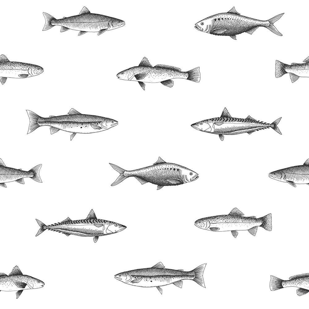 Fiyero Off-White Fish Paper Strippable Wallpaper (Covers 56.4 sq. ft.)