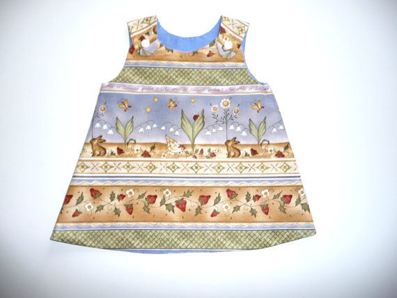 Baby or girls A-line dress pinafore jumper by NaturalKidsClothing