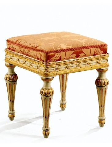 Very Fine Pair of Italian Parcel Gilt and Ivory Painted Stools, Royal Artisans, Turin, ca. 1780