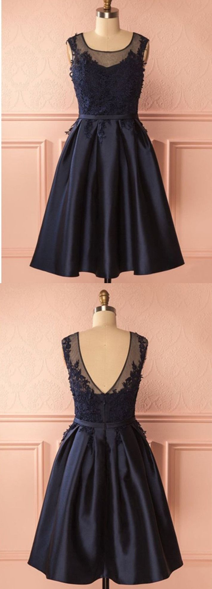 A line round neck backless short navy blue lace prom dresses navy