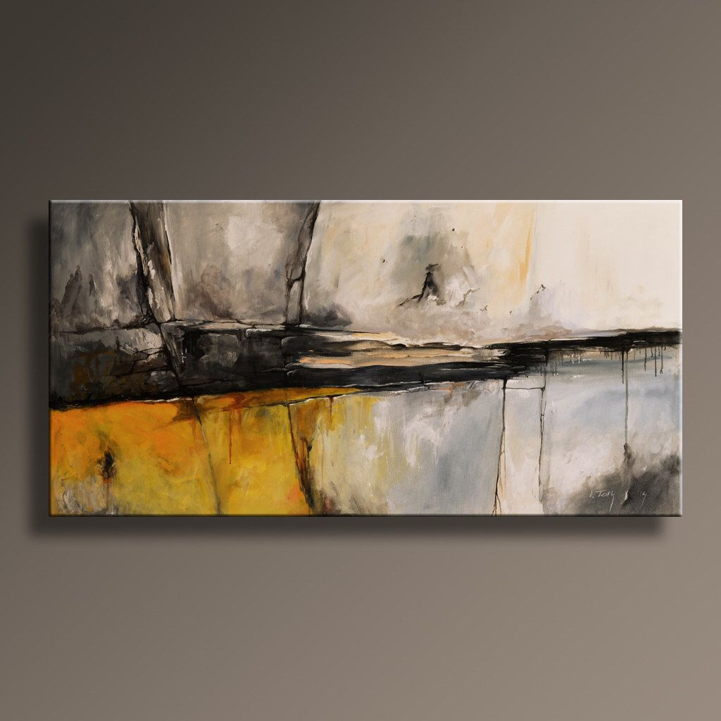 48 large original abstract jaune gris peinture sur art contemporain abstrait toile murale d cor for Peinture murale jaune