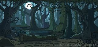 The Art Of Stodoe Spooky Forest Backdrop For Drama Maniacs Forest Backdrops Scary Backgrounds Forest Cartoon