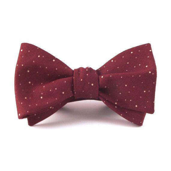 Men's Bow Tie, Maroon Burgundy Wine Speckled Polka Dot