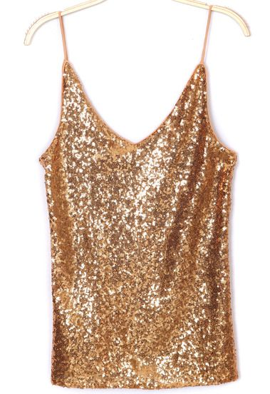 8265b678cc137 Gold V Neck Spaghetti Strap Sequined Vest pictures
