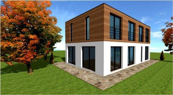 Modele De Maison Bois Cubique Moderne Contemporaine Maison Toit Plat Maison Bois Toiture Terrasse