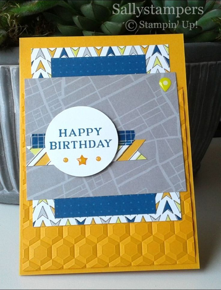 Hexagon Dynamic TIEF Adds Great Texture To This Male Birthday Card Independent Stampin UpR Demonstrator UK
